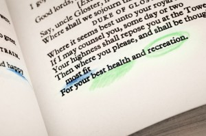 Fitness health and recreation according to Shakespeare
