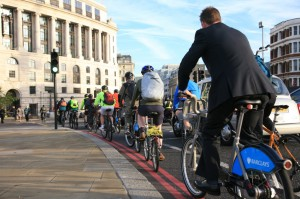 Bicycle commuters in London