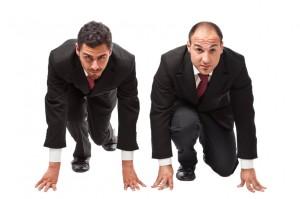 Runninng businessmen