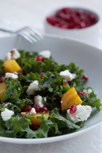 Beet, Goat Cheese and Pomegranate Salad and seeds in bowl