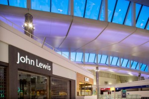 Heathrow, Terminal 2A, airside departure lounge, the first Heathrow John Lewis retail store, March 2014.