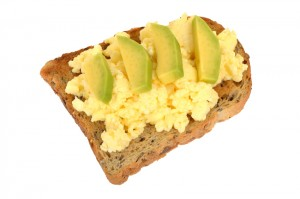 Scrambled Eggs on Toast with Avacado