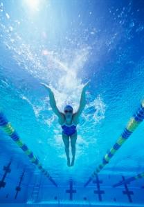 Underwater shot of USA female swimmer
