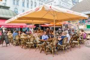 Cafe terrace on Naschmarkt in Vienna, Austria