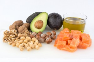 Salmon, avocado, olive oil and nuts, examples of healthy fat