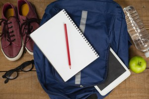 Bagpack, Diary, shoes, spectacles, digital tablet, apple and water bottle