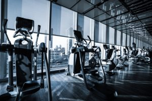 Fitness club in luxury hotel interior.GYM concept.
