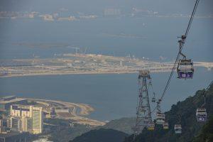 October 21, 2018, Hong Kong: Panoramic view of Ngong Ping 360 cable cars, Hong Kong International Airport and Hong Kong-Zhuhai-Macau Bridge's Hong Kong Boundary Crossing Facilities is seen on Lantau Island.