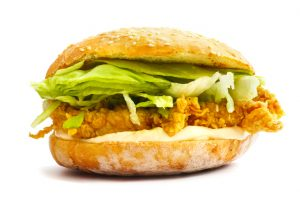 Classic Chicken Burger Isolated on white background